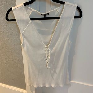 Express white lace up tank top M